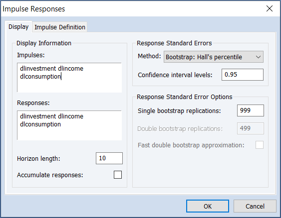 Testing and Diagnostics: Bootstrap Confidence Intervals, EViews 12